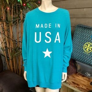 "Wildfox Teal Blue ""Made in USA"" Baggy Beach Jumper"